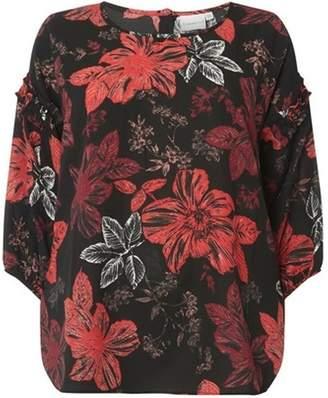 Junarose Womens **Juna Rose Black 3/4 Sleeve Floral Print Blouse