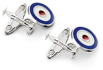 Aspinal of London Sterling Silver Spitfire Enamel Raf Roundel Cufflinks