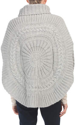 Made In Italy Rounded Wool Blend Poncho