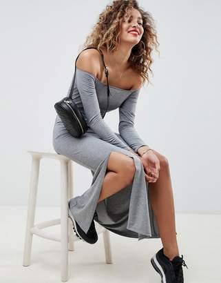 Asos DESIGN off shoulder maxi dress with double split