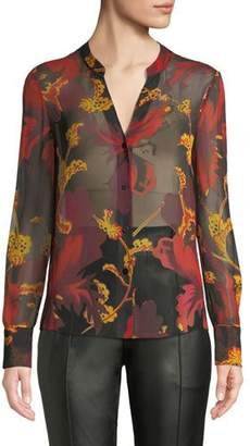 Diane von Furstenberg Karen Sheer Silk Floral Button-Down Top