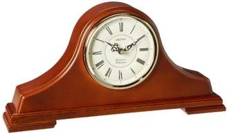 Seiko Mantel Chime Clock Dark Solid Oak tambour Case