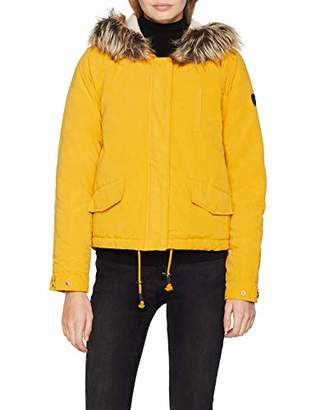 Only Women's Onlnew Skylar Fur Parka Cc OTW Jacket Golden Yellow, (Manufacturer Size: Large)