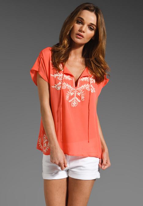 Central Park West Cabo Embroidered Silk Top