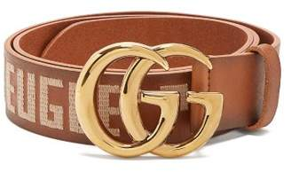 Gucci - Gg Embroidered Leather Belt - Mens - Brown Multi