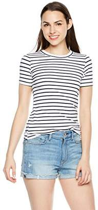 Plumberry Women's Crewneck Striped Short Sleeve Casual Slim Fit T-Shirt Tops Blue/White