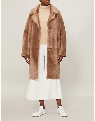 Drome Double-breasted reversible shearling and leather coat