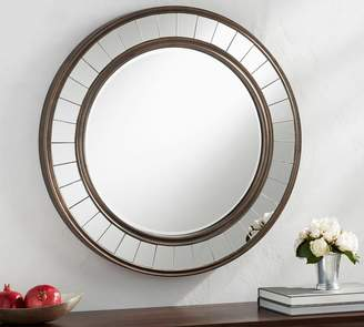 Pottery Barn Wood Mirror With Trim - Round