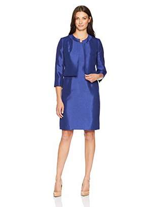 Le Suit Women's Jewel Neck Fly Away Shiny Jacket and Sheath Dress