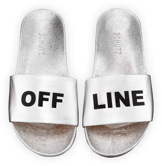 Schutz Off Line Metallic Leather Slides