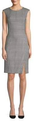 BOSS Cap Sleeve Glen Check Sheath Dress