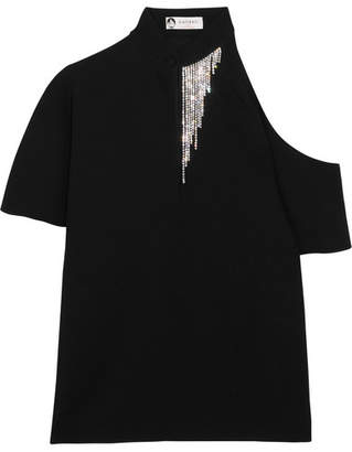 Lanvin - Crystal-embellished Cutout Crepe Top - Black $1,450 thestylecure.com