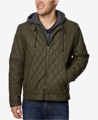 Buffalo David Bitton Men's Quilted Full-Zip Moto Jacket with Removable Hoodie