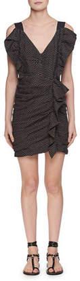 Etoile Isabel Marant Topaz V-Neck Sleeveless Ruched Short Dress