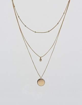Asos DESIGN dot dash and disc multirow necklace