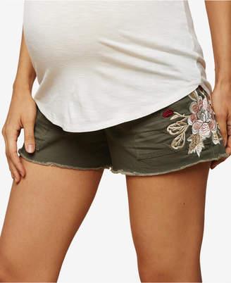 Jessica Simpson Maternity Embroidered Denim Shorts