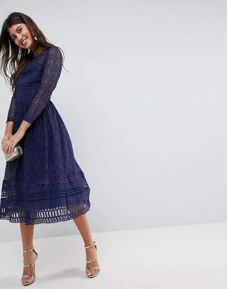 Asos Design PREMIUM Lace Skater Midi dress with long sleeves
