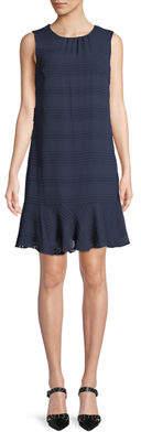 Karl Lagerfeld Paris Sleeveless Clip-Dot Chiffon Dress