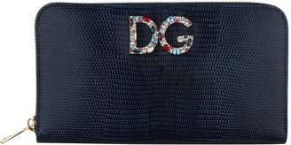 Dolce & Gabbana Iguana Print Leather Zip-Around Wallet