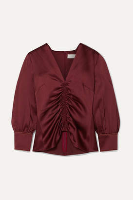 Peter Pilotto Ruched Satin Blouse - Burgundy