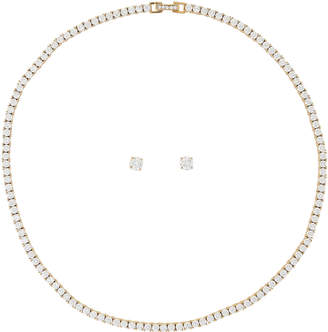 Crislu Gold-Tone Necklace & Earrings Set