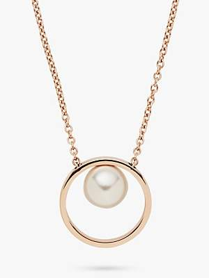 Skagen Agnethe Faux Pearl Circle Pendant Necklace, Rose Gold SKJ0996791
