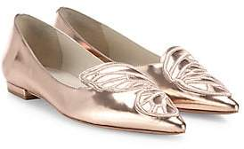 Sophia Webster Women's Bibi Butterfly-Embroidered Metallic Leather Flats