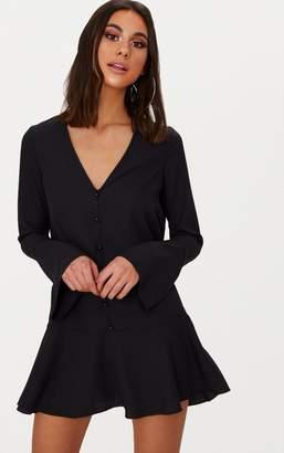PrettyLittleThing Black Button Frill Hem Shift Dress