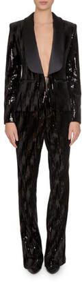 Redemption Sequined Tuxedo-Lapel Smoking Blazer