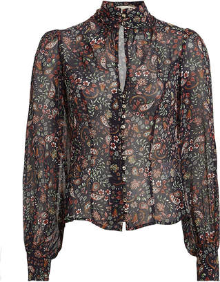 Nicholas Floral Silk High Neck Blouse