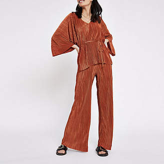 River Island Rust pleated jersey wide leg pants