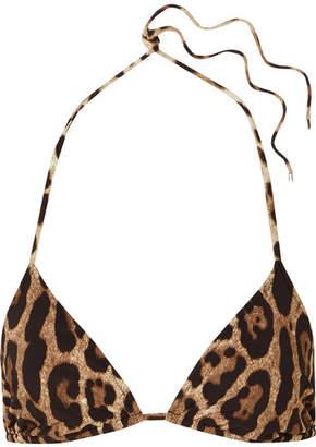 Dolce & Gabbana Leopard-print Triangle Bikini Top - Leopard print