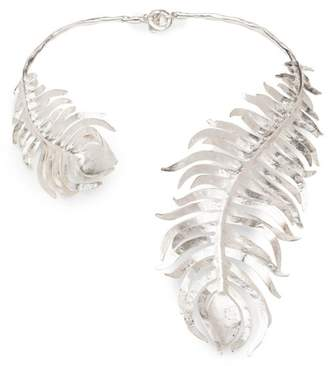 Josie Natori Silver Plated Brass Peacock Necklace
