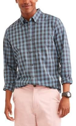 George Men's Long Sleeve Stretch Poplin Shirt, Up to Size 5XL