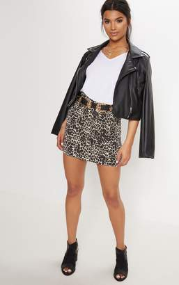 PrettyLittleThing Leopard Denim Mini Skirt