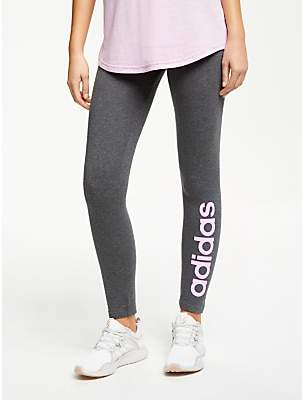 0a652eafca13e adidas Essentials Linear Tights, Dark Grey Heather/True Pink