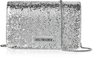 Love Moschino Evening Bag Silver Eco-Leather Clutch w/Chain Strap