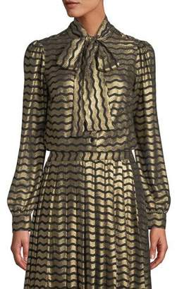 MICHAEL Michael Kors Swing Foil Stripes Tie-Neck Blouse