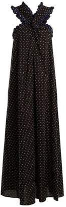 Marysia Swim Polka Dot Crossover Front Cotton Maxi Dress - Womens - Black Navy