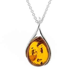 ed6df5e8b Nova Silver Cognac Amber Twist Pendant on 18 inch (46cm) Silver Chain in  presentation