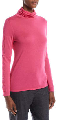 Escada Cowl-Neck Long-Sleeve Cashmere Heart-Pointelle Sweater