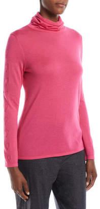 Escada Cowl-Neck Long-Sleeve Cashmere Heart-Pointelle Sweater