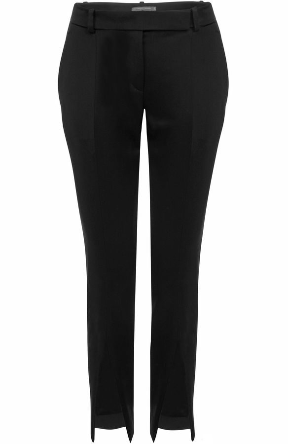 Alexander McQueen Black Cropped Slash Fronted Trousers
