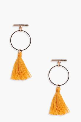 boohoo Bar and Hoop Tassel Earrings