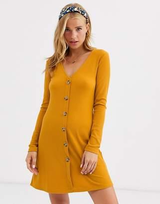 Brave Soul skyla rib dress with button front