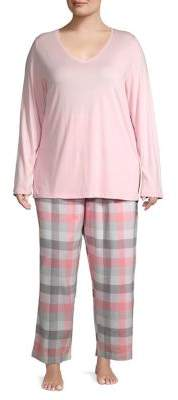 Hue Block Plaid Two Piece Pajama Set