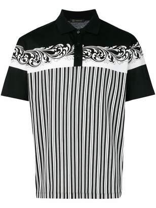 Versace baroque printed striped polo shirt