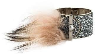 Fendi Fox Fur & Crystal Cuff