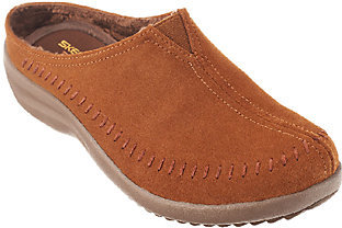 Skechers Whipstitch Leather Open Back Slip-ons - Sedona $28.97 thestylecure.com