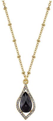 """2028 Carded Gold-Tone Black Petite Teardrop Pendant Necklace 16"""" Adjustable"""
